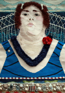 """Bebe,"" 2009, 36"" x 23"" Wool, raffia, twine, silk, cotton and synthetic fibers on cotton warp, embellished with shells, beads, flower, ""American Red Cross"" pin and barrettes"