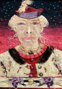 """Stella,"" 2009, 34"" x 23,"" Wool, pine, silk, cotton and synthetic fibers on cotton warp, embellished with antique flowers, trim, earrings, buckles, buttons, necklace, feather, fur collar and ""First Annual Picnic"" pin"