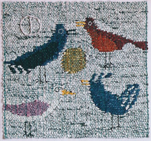 "Birds on a Gravel Beach, 13"" x 13,"" spun paper, cotton, handwoven 2005"
