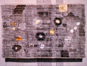 "Black Cosmos, 30"" x 40,"" 1996, mixed media collage."
