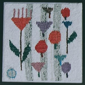 "Caucasian Flower Field, White, 12"" x 12,"" 2009, tapestry, handspun paper, woven. Collection: Liz Theaker."