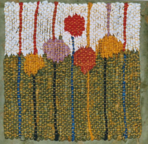 "Garden and Grass, 8"" x 8,"" 2008, tapestry, handwoven paper. Collection: R Campbell."