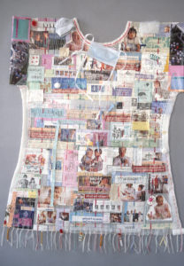 Hospital Gown II, 5' x 4,' 1993, mixed media collage, woven, stitched. Collection of Valley Medical Center, Renton.