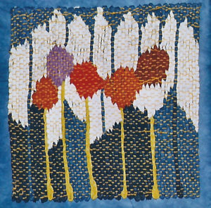 "Posies and Pickets, 8"" x 8,"" 2008, tapestry, handwoven, paper. Collection: Chapelle."