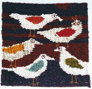 "Purple/ purple. 5 Birds, 12"" x 12,"" 2009, tapestry."