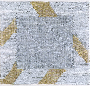 "Silver Till, landscape, 18"" x 18,"" 2000, mixed media, tapestry. Photo: Michelle Bates."